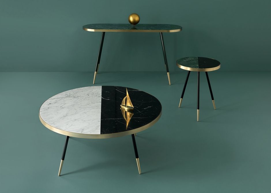british-designer-bethan-gray-has-created-a-collection-of-tables-with-marble-tops-wrapped-in-bands-of-brass